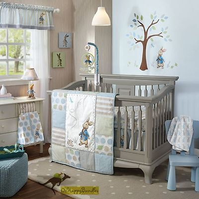Baby Boys Girls 7 Pieces Cotton Peter Rabbit Nursery Bedding Crib Cot Sets