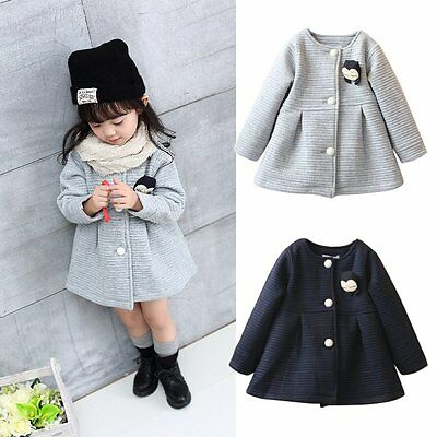 Autumn Winter Baby Girl Long Sleeve Jacket Bowknot Pleated Outerwear Coat 2-7Y