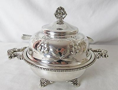 1890'S New Amsterdam Silver Plated Butter Dish & Knife