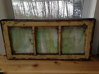 """Antique Chicago Stained Leaded Glass Transom Window 29"""" by 14"""" Circa 1925"""