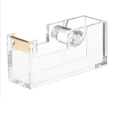 NEW! OnDisplay ACRYLIC DESKTOP TAPE DISPENSER - CLEAR & METALLIC GOLD