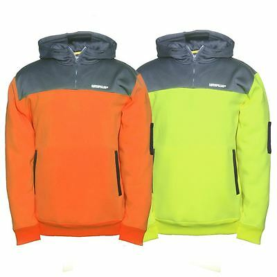 New Caterpillar Men's Work Fishing Camping Hi-Vis Hooded Sweatshirt Cheap