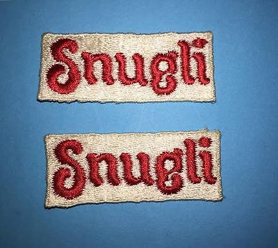 2 Lot Rare Vintage 1980's Snugli Baby Carrier Sew On Tag Patch Crest