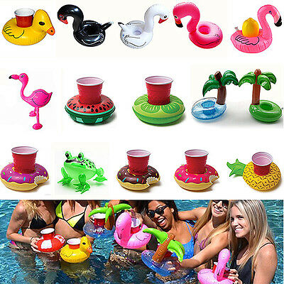 Dount Swimming Ring Inflatable Floating Swimming Pool Bath Beach Drink Can Cup
