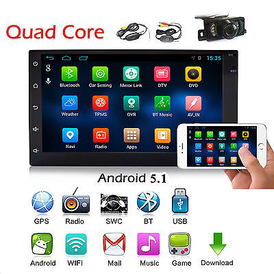 Android 5.1 Autoradio Bluetooth Navigation Doppel 2 DIN USB GPS 3G WIFI USB RDS