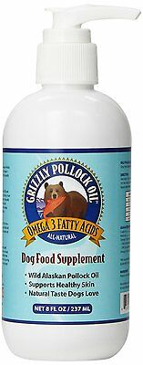 Grizzly Pet Products Pollock Oil Dog Food Supplement Omega 3 Fatty Acids 8 oz