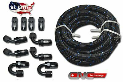 AN8 8AN 20FT Nylon Steel Braided Fuel Line 10 Fittings Hose End Adaptor Kit E85