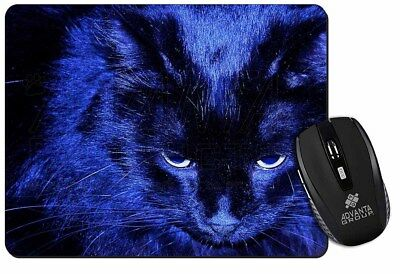 Black Cat in Blue Night Light Computer Mouse Mat Christmas Gift Idea, AC-81M