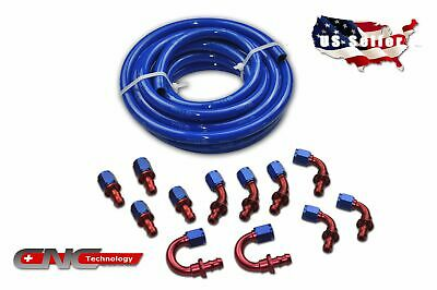 -6AN AN-6 AN6 Push Lock Fuel Hose Blue 20FT / Push On Loc Fittings Kit Set