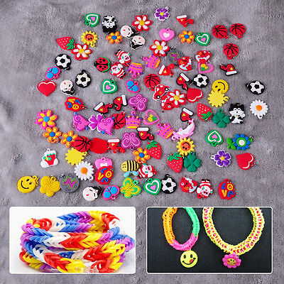 50pcs Silicone Loom Charms Cartoon Hangs for Rainbow Bands Bracelet Making Craft