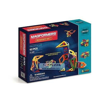 Magformers Designer Set 62 Pieces Educational Shapes 3D Brain Development Magnet