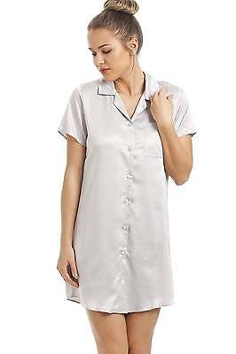 Camille Womens Nightwear Sleepwear Luxurious Knee Length Silver Satin Nightshirt
