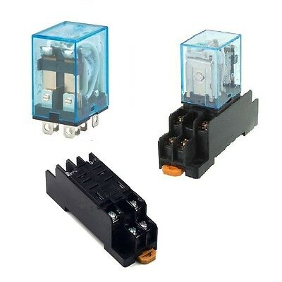 AC 220V DC12V Coil Power Relay 8Pin 10A DPDT LY2NJ HH62P HHC68A-2Z Socket Base U