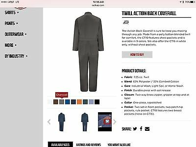 Red Kap CT10CH Men's Charcoal Grey Coveralls Size 54R NEW