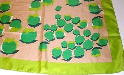 Vintage Silk Made in Italy 70s Green Scarf Headwrap Retro Mod Square Floral