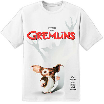 Mens Gremlins Retro 80's Movie Poster T Shirt Mogwaii Stripe Classic Vintage DVD