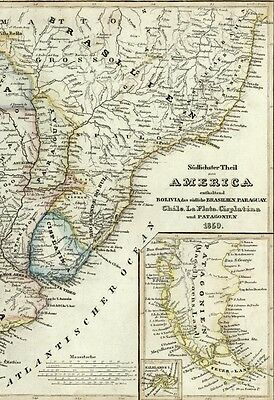 South America Bolivia Cisplatina Patagonia Brazil Chile 1849 Meyer antique map