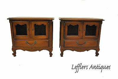 Pair French Country Cherry Chests By Drexel Single Drawer Circa 1967
