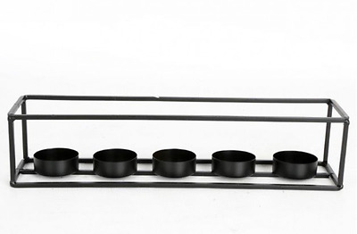 Contemporary Black Metal 5 Tea Light Candle Holder - Table Centrepiece - NEW