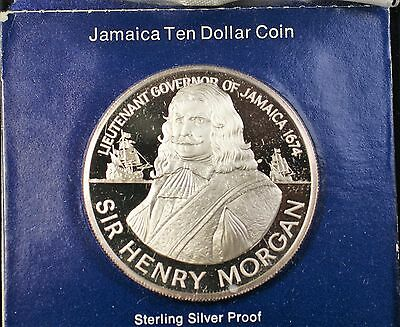 1974 Jamaica $10 Sir Henry Morgan Sterling Silver Proof Ten Dollar Coin Box COA