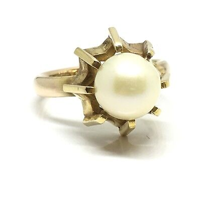 Vintage large cultured pearl set on 1945 9ct yellow band ring