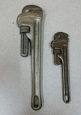 "Used lot of 2 Ridgid  Steel Pipe Wrench 12"" & 8"""
