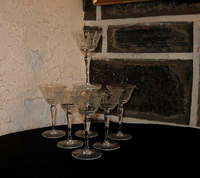 Vintage stemware LOT OF 7  Etched flower and sash footed Cordials/ Sherry