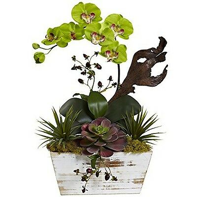 Nearly Natural 1458-GR Orchid & Succulent Garden With White Wash Planter Green