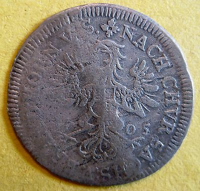 German States Brandenburg-Bayreuth 1705 IAP 1/24th Thaler SILVER KM#90 Crease