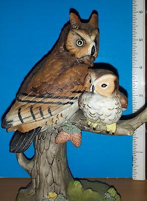 Owl Figurine Mother With Baby On Tree Branch
