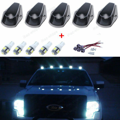 5Pcs Smoke Cab Roof Marker Lights w/ T10 5050 White LED For Ford F-150/250/350