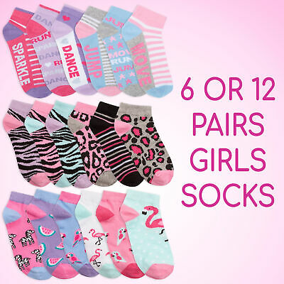 6 or 12 Pairs Girls Trainer Liner Ankle Socks Novelty Cotton Rich Design School