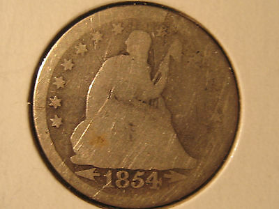 1854 Seated Liberty Quarter - 90% Silver - Free Shipping