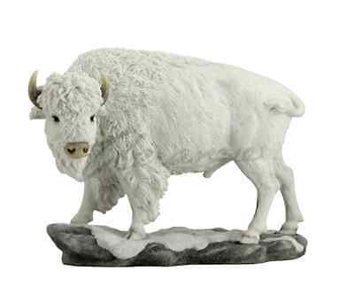 White Bison Statue Sculpture Figure - GIFT BOXED