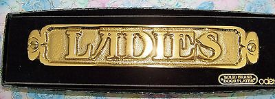 """Brass Door Plate, Solid,  """" LADIES""""   by ODEN, New Old Stock"""