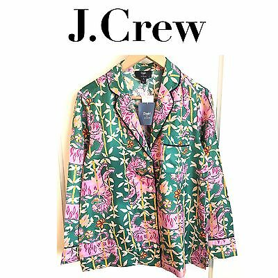 49fc448ae1d7ac J CREW COLLECTION Drake s Pajama Top Green Bengal Tiger sz 00 Blouse SILK  NEW