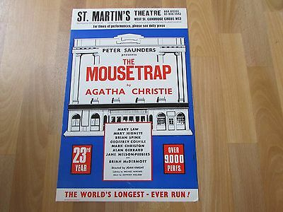 The MOUSETRAP by Agatha CHRISTIE 23rd Year Original St MARTINS Theatre Poster