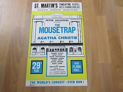 The MOUSETRAP by Agatha CHRISTIE 29th Year Original St MARTINS Theatre Poster