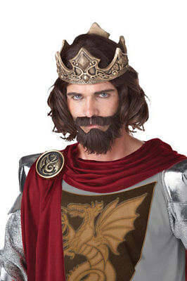 Medieval King Brown Wig and Beard for Halloween Costume