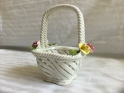 Nuova Capodimonte White Porcelain Basket with Pink and Yellow Flowers