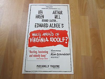 WHO's Afraid of VIRGINIA Woolf Uta HAGEN & Arthur HILL Piccadilly Theatre Poster