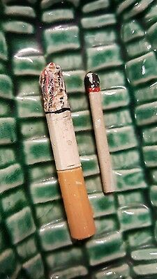 Alvaro Jose Caldrs majolica ashtray with cigarette and match so cool
