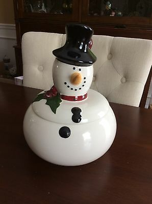 "Expressly Your Snowman Cookie Jar Approx 10""x10"""