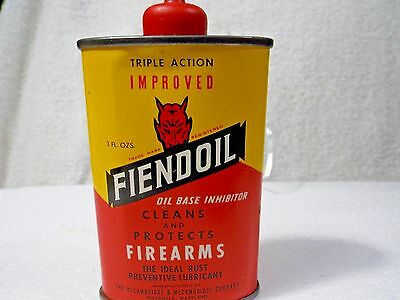 Vintage Collectible Advertising Tin Fiendoil-Devil  Picture Tin-Firearms-Marylan