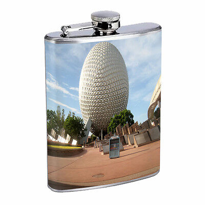 Famous Landmarks D10 Flask 8oz Stainless Steel Hip Drinking Epcot