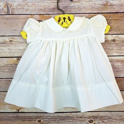 Vintage Nannette Baby Girls White Collared Dress Lace Flower Embroidery 0-3 Mos?