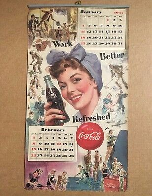 1953 Coca Cola January February Calendar Page Work Better Refreshed !!!