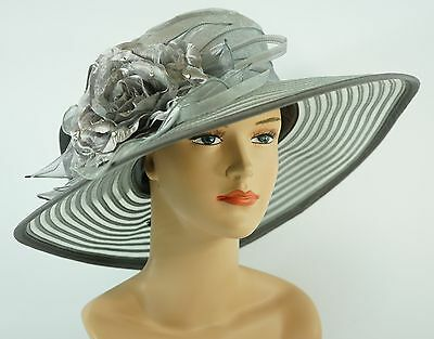 New Church Kentucky Derby Wedding Organza Wide Brim Dress Hat 286 Gray