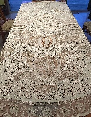 "Stunning Antique FIGURAL LACE TABLECLOTH Cherubs Sirens Floral 88"" Round Ivory"