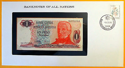 Argentina - 1 Peso - 1983  Uncirculated Banknote enclosed in stamped envelope.